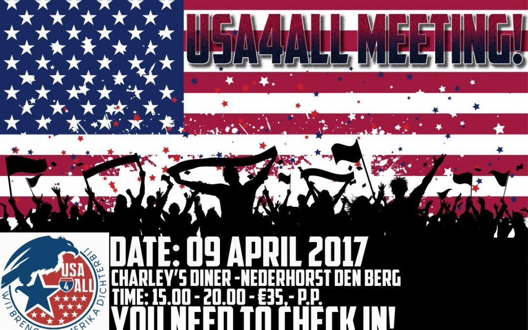 Amerika meeting USA4ALL 2017 – 9 april Charley's Diner